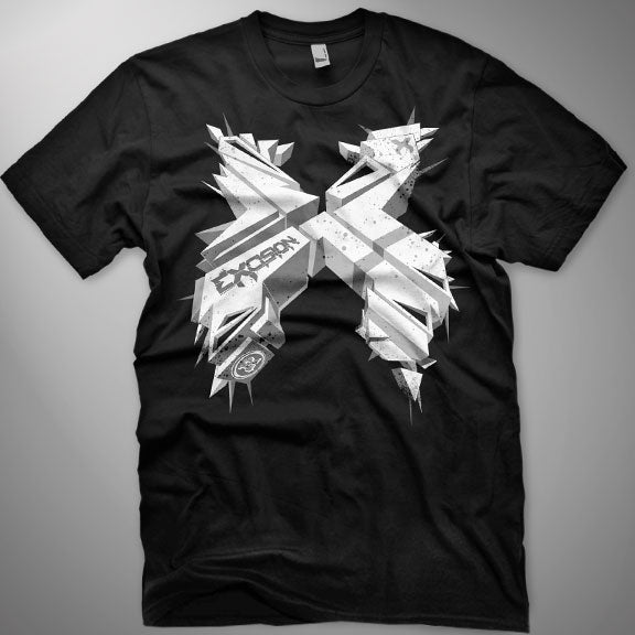 EXCISION -3DX- T-Shirt - Black w/ White Print