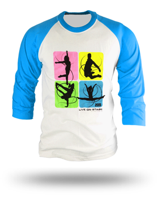 The Next Step 2015 Tour Square Dance Raglan Shirt: White/Neon Blue