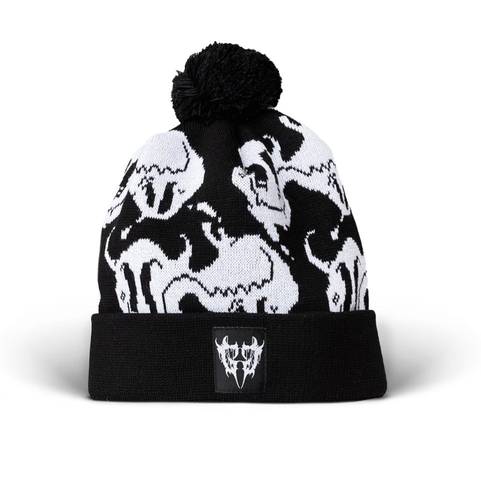 Ghostgang - Bipolar Beanie Black and White Custom Knit Pom Pom Hat