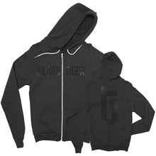 GLASS TIGER -Glossy- Black Zip Up Hoodie