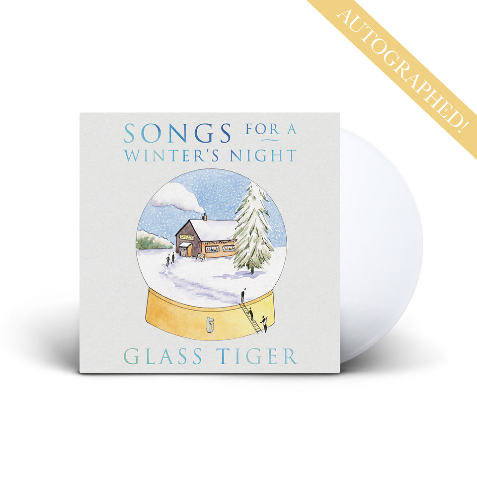 AUTOGRAPHED! GLASS TIGER - Songs For A Winter's Night - Frost White Vinyl LP