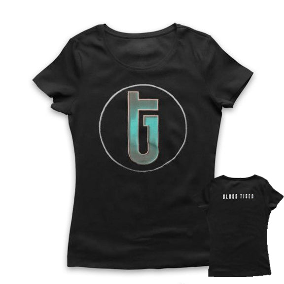 LTD. EDITION - GLASS TIGER -Circle Logo- Ladies T-Shirt - Black