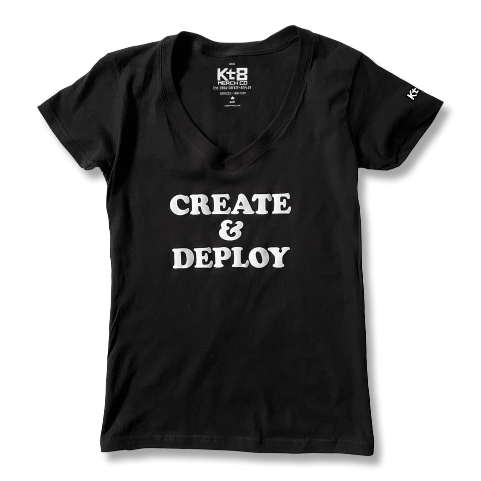 KT8 Apparel -Create And Deploy- Ladies Black Tee