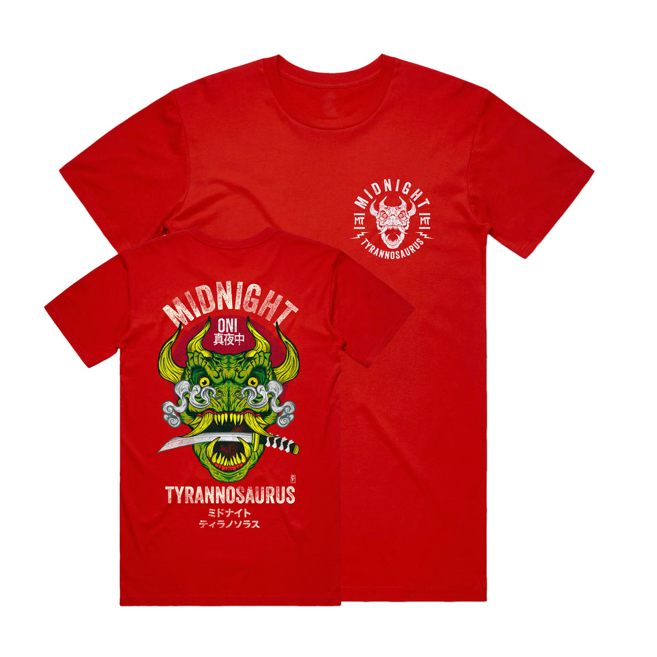 Midnight Tyrannosaurus - Onisaurus - Red Tee (Full Color)