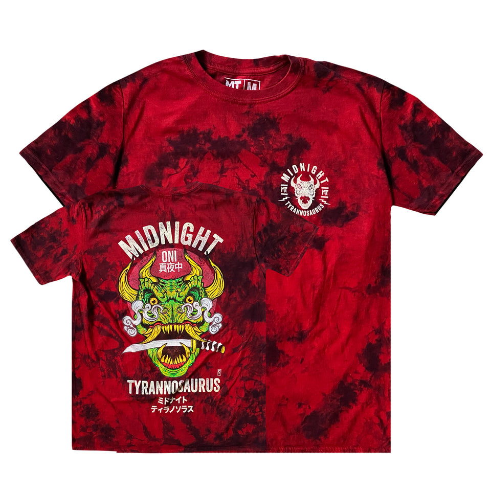 Midnight Tyrannosaurus - Onisaurus - Red Tie Dye Tee (Full Color)