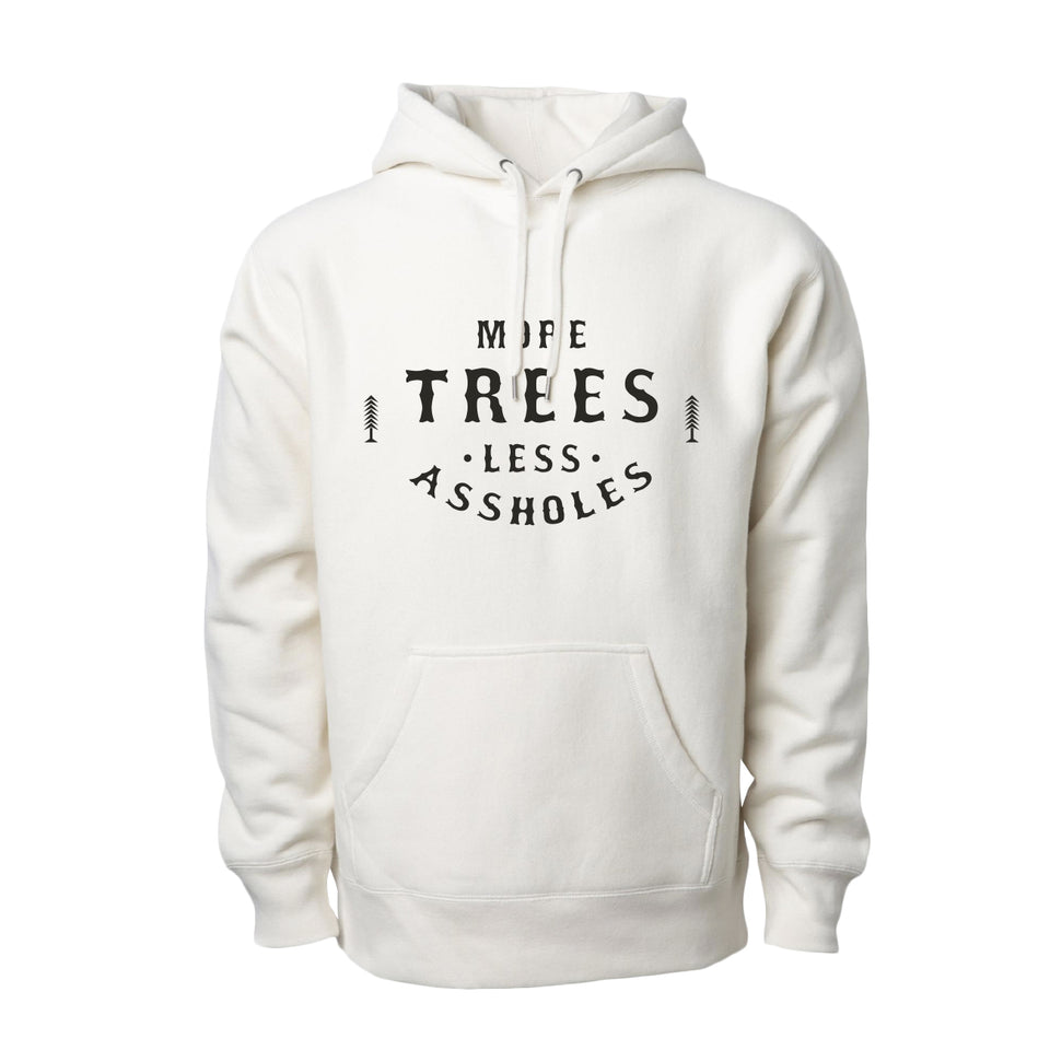 More Trees Co. - Classic Logo - Premium Heavyweight Cross-Grain Hoodie - White