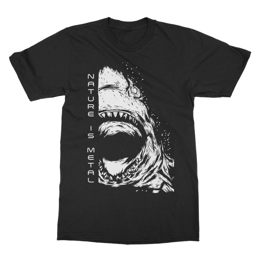 Nature Is Metal - Shark Logo - Black T-Shirt