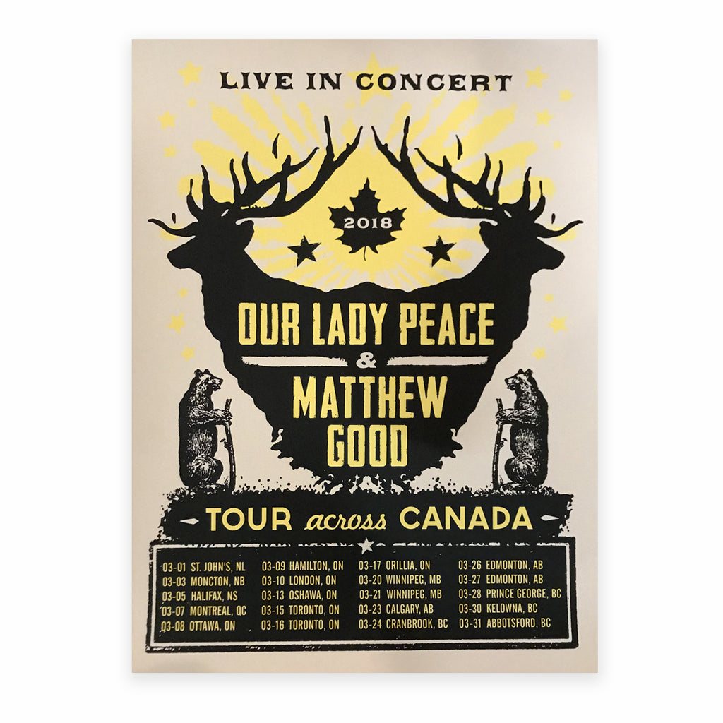 Our Lady Peace - OLP x Matt Good - Official Silkscreened Tour Poster