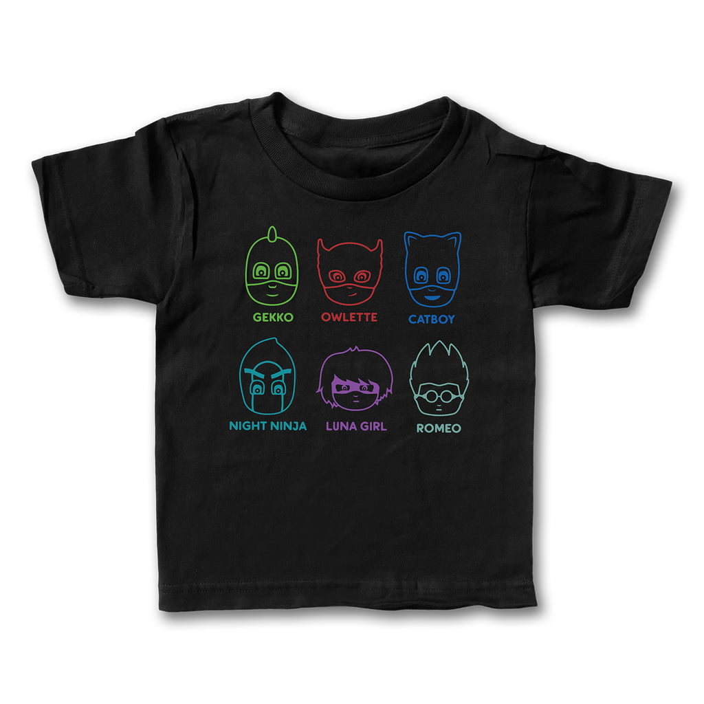 PJ Masks - Hero and Baddies - Black Tee