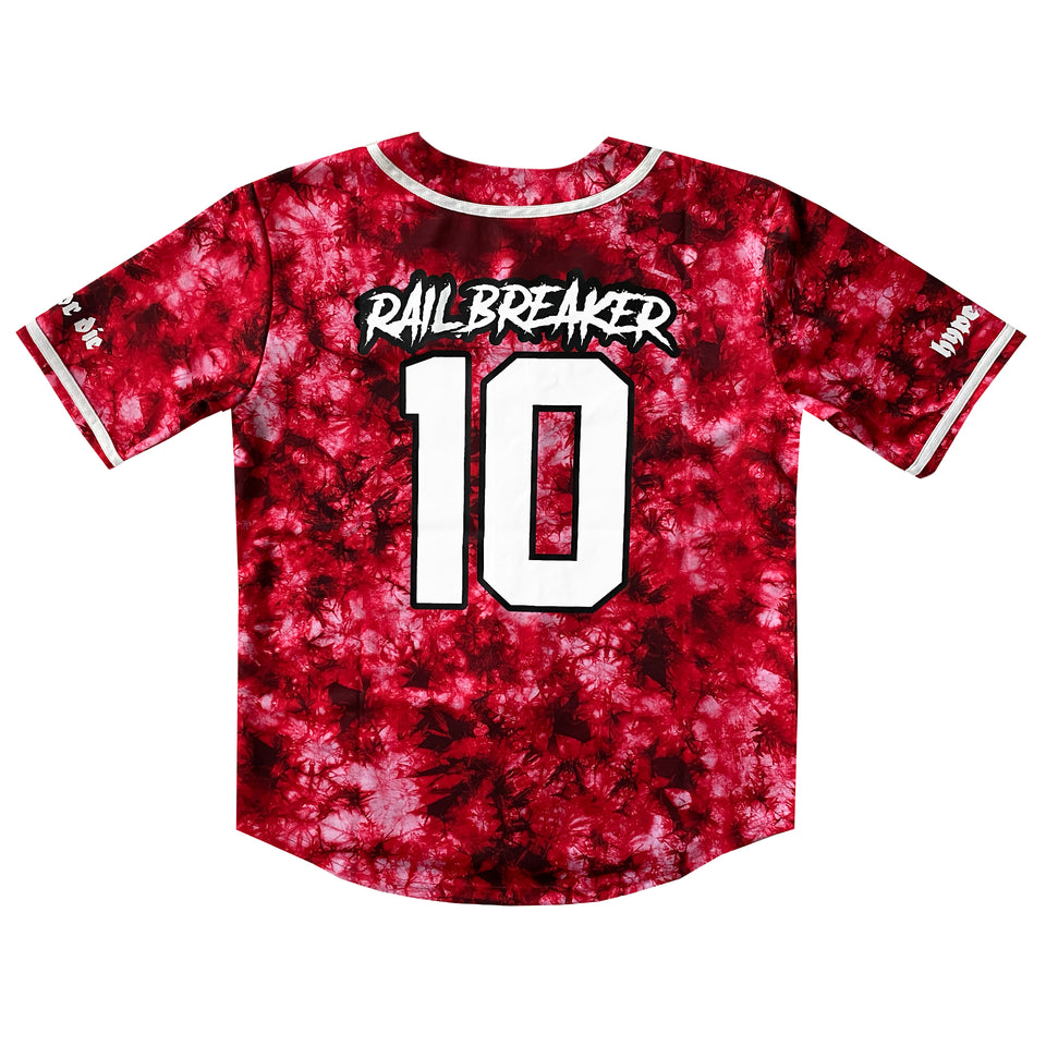 PRE ORDER - Riot Ten - Railbreaker - Limited Edition - Red Tie Dye Baseball Jersey