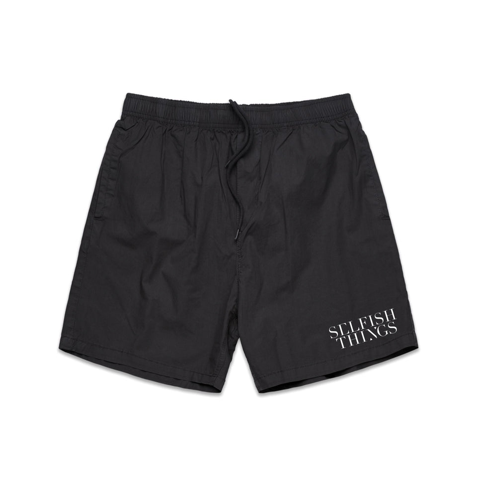 Selfish Things - Logo - Beach Shorts - Black