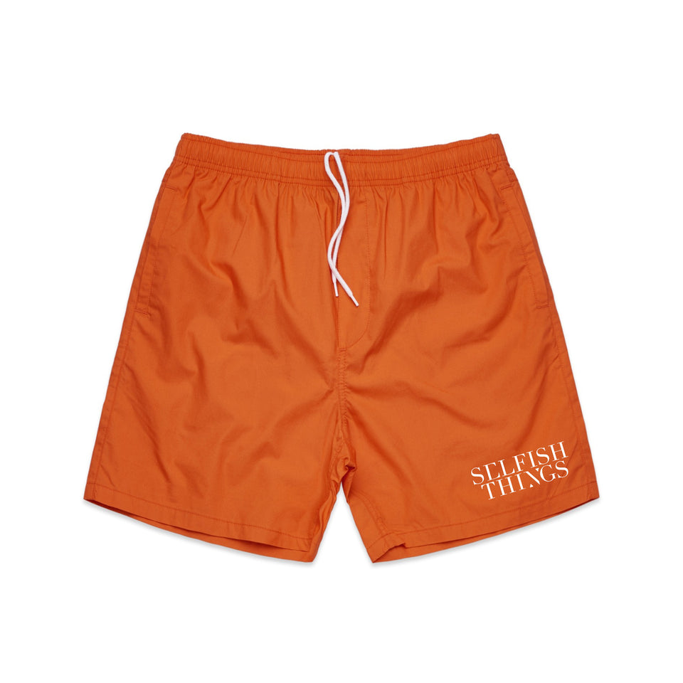 Selfish Things - Logo - Beach Shorts - Orange