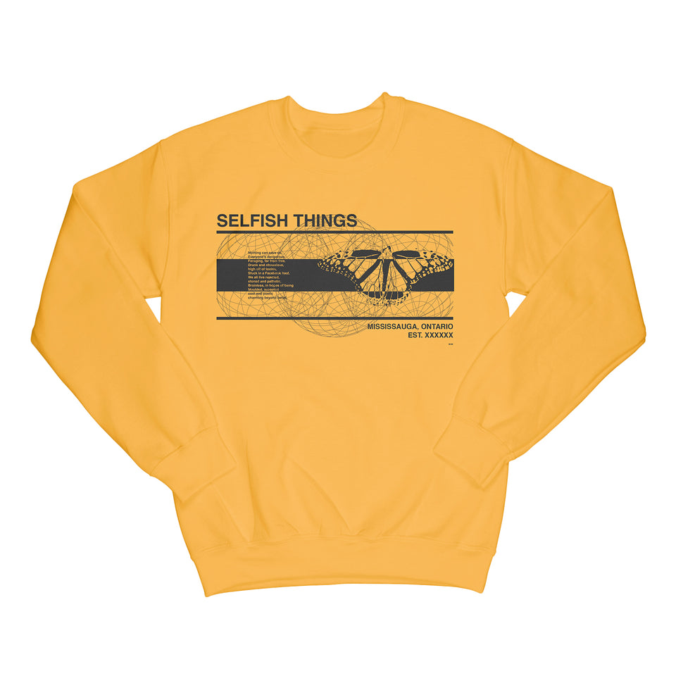 Selfish Things - Floral - Yellow Crew Sweater
