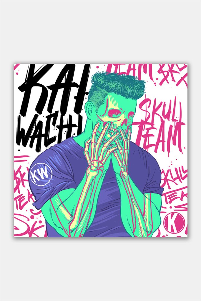 KANNIBALEN RECORDS -  KAI WACHI - Skull Team wall print