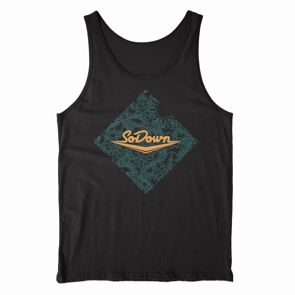 SoDown - Palm - Black Unisex Tank Top