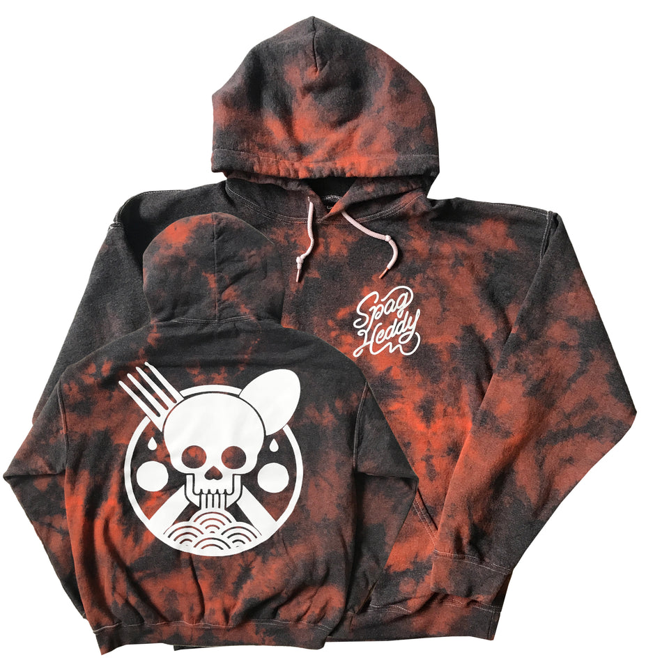 Spag Heddy - Saucy Till Death - Tie Dye Black / Orange Hoodie