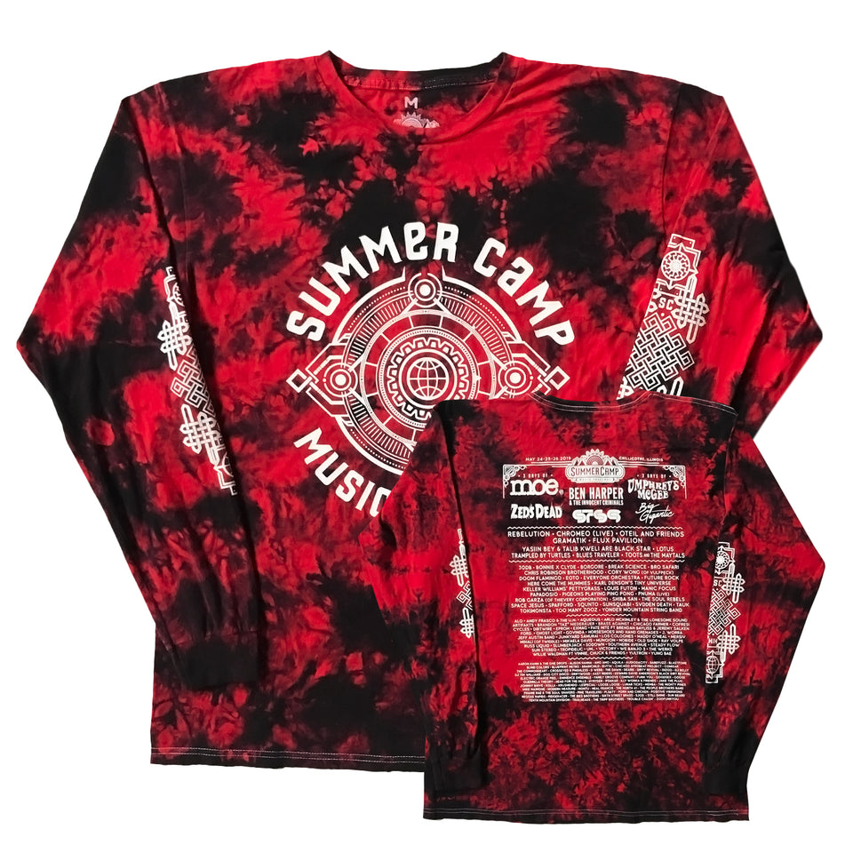 Summer Camp Music Festival - 2019 Official Festival Long Sleeve - Red Cyclone Tie Dye