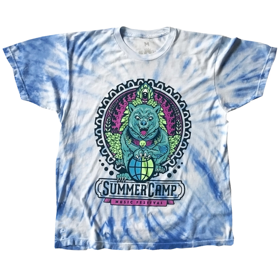 Summer Camp Music Festival - 2019 Official Festival Tee - Blue Cyclone Tie Dye