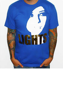 $10!!! LIGHTS Guys Face - Foil Shirt - Blue