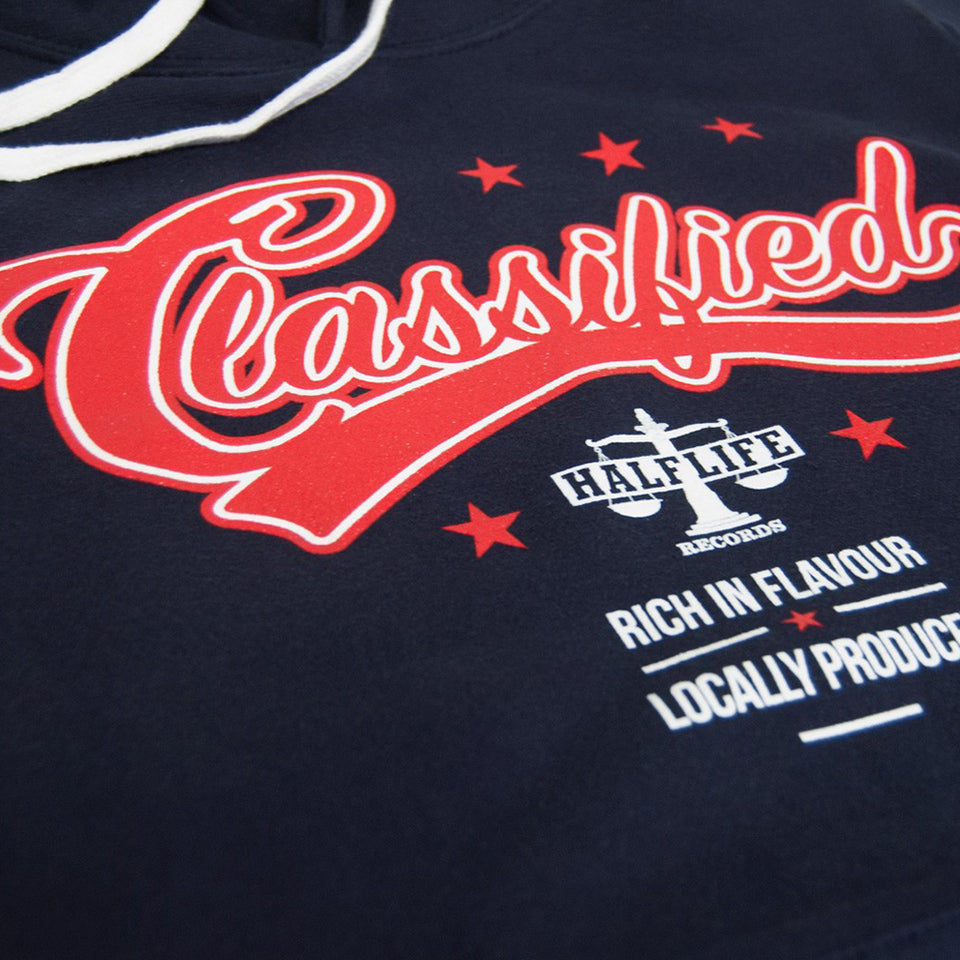 Classified - Vintage Logo - Navy Blue Pullover Hoodie