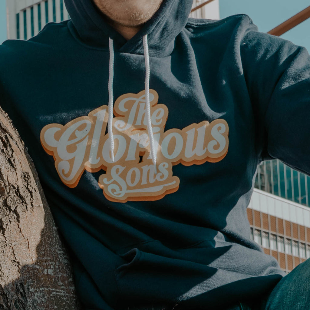 The Glorious Sons - Vintage Script Logo - Navy Blue Pullover Hoodie