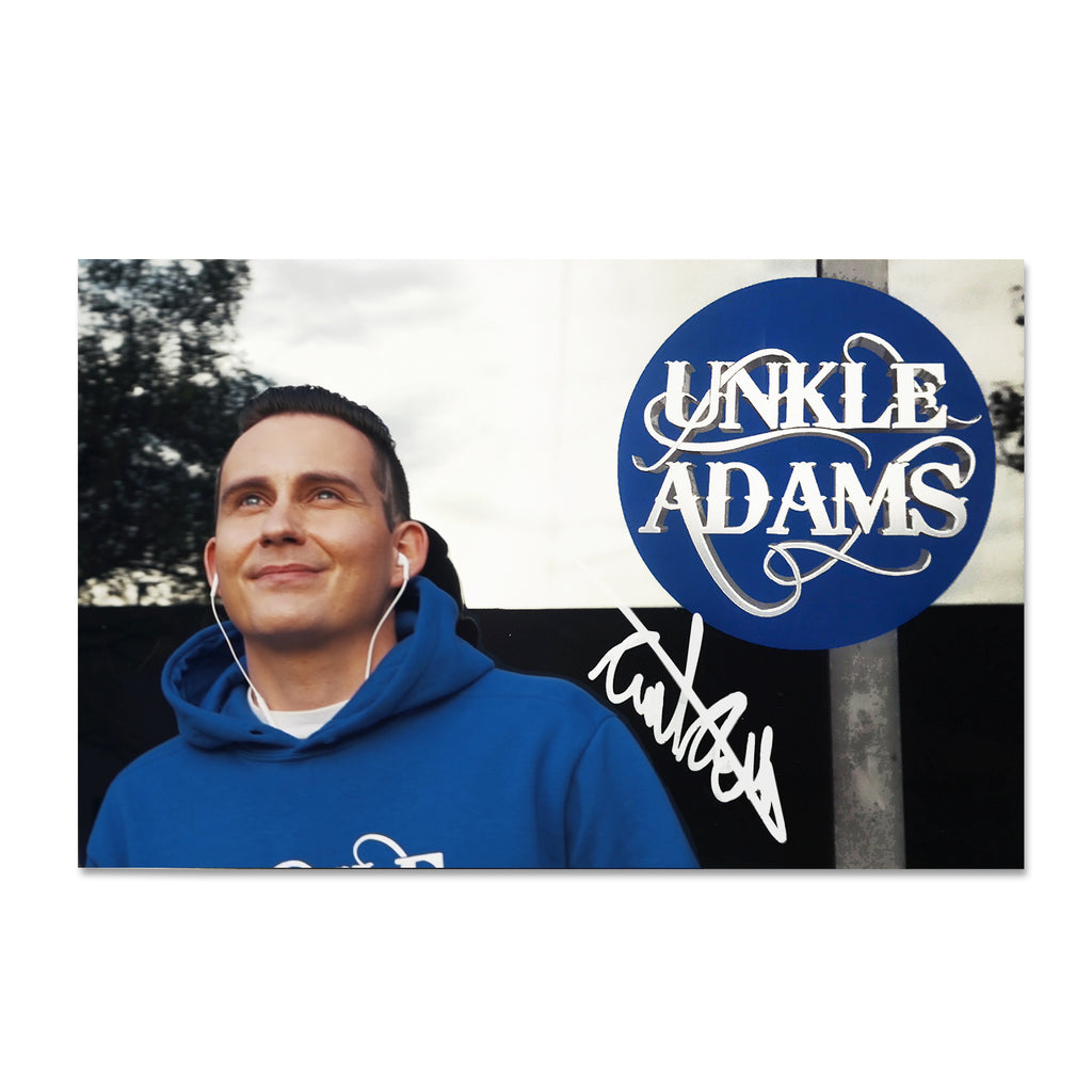 Unkle Adams - Blue and White Autographed Mini Fan Poster