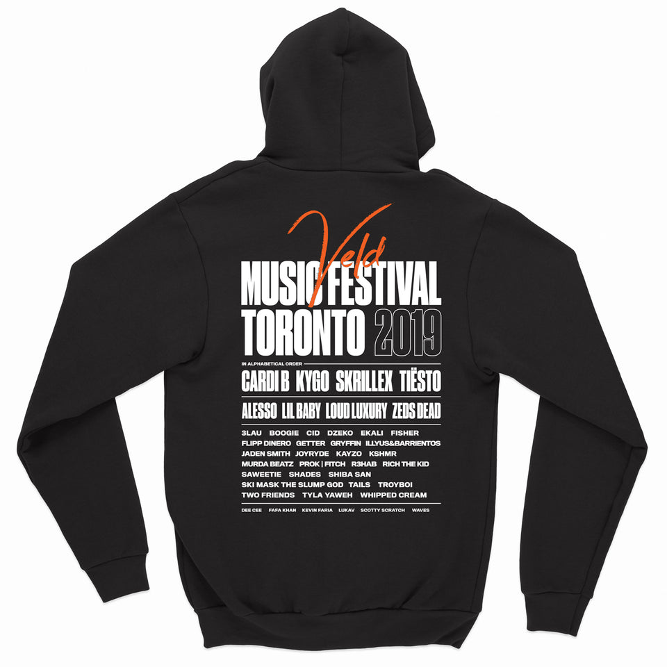 2019 VELD Official Festival Zip Up Hoodie - Black