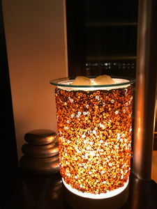 Oil Burner - Gold & Brown Beaded Touch Lamp
