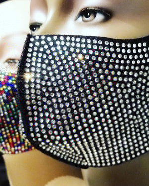 Full Clear Rhinestone Face Mask (with velvet pouch)