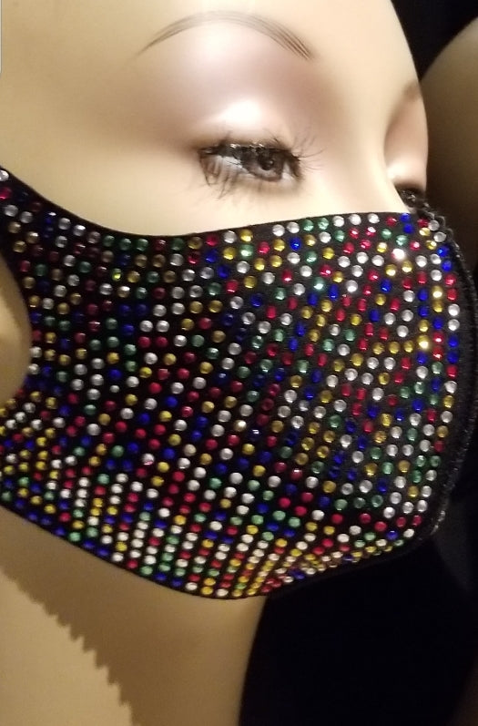 Full Multi-Colored Rhinestone Face Mask (with velvet pouch)