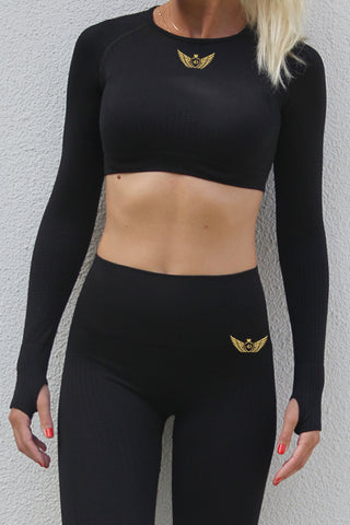 ROGUE Seamless Long Sleeve Crop Top Black | ROGUE Dikişsiz Uzun Kollu Büstiyer Siyah
