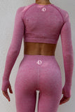 ROGUE Seamless Long Sleeve Crop Top Pink Powder | ROGUE Dikişsiz Uzun Kollu Büstiyer Pudra Pembe