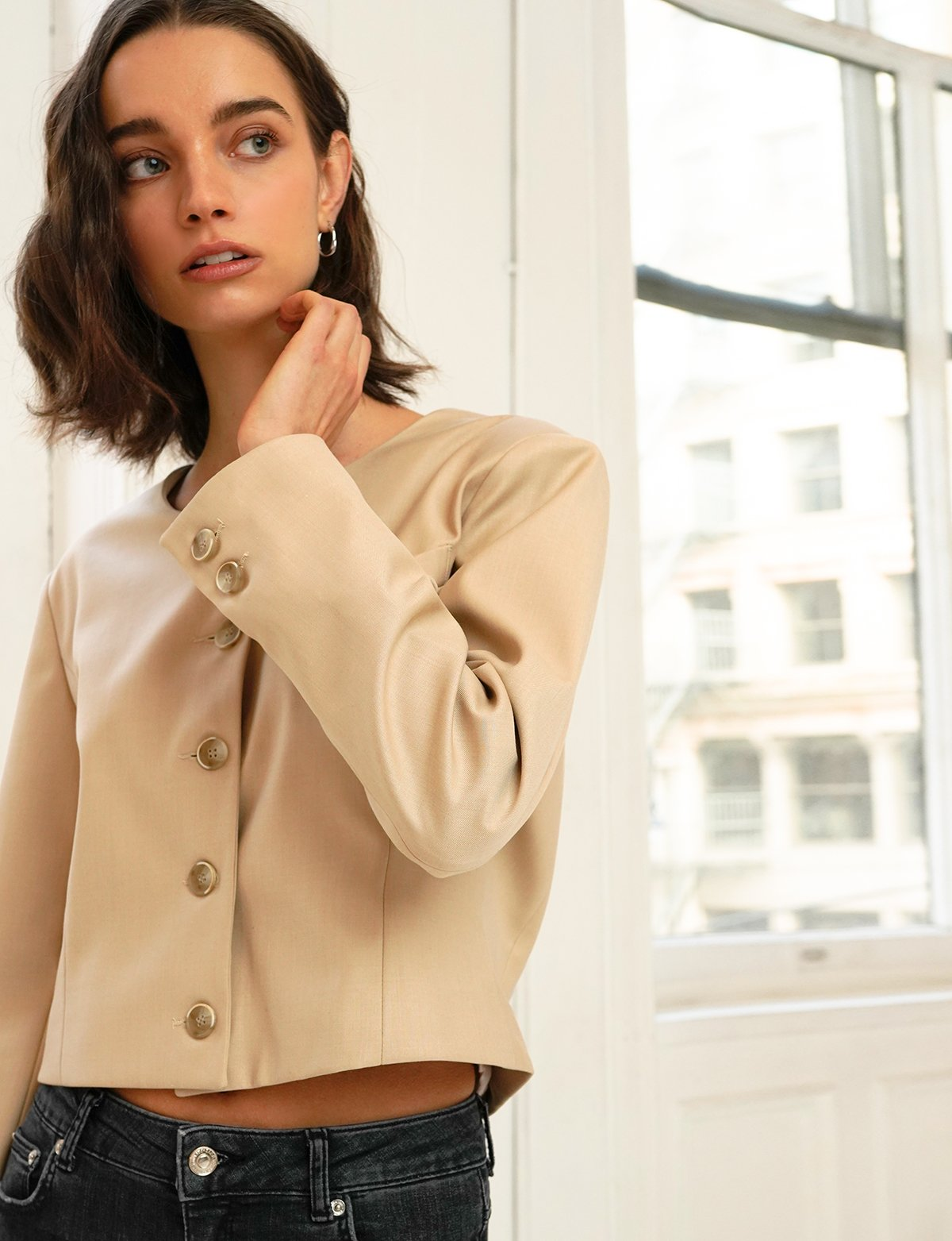 Tan Crop Blazer