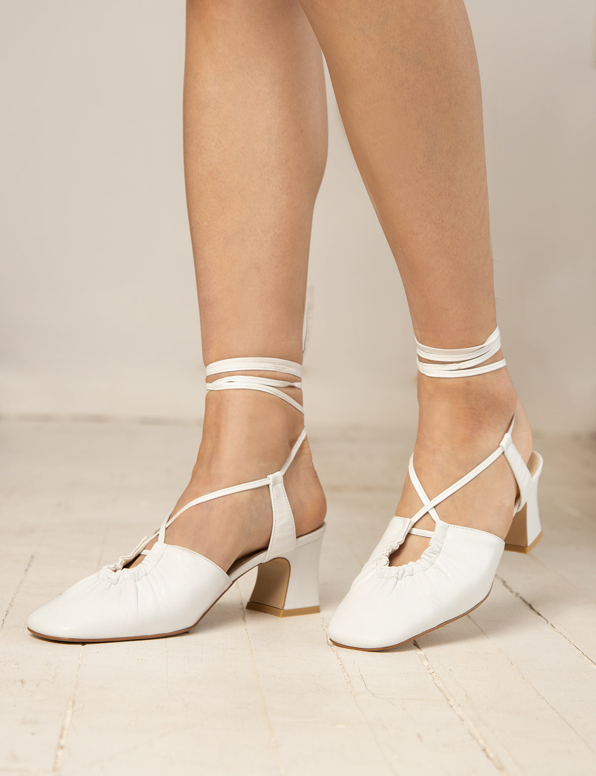 White Ankle-Tie Heeled Sandals