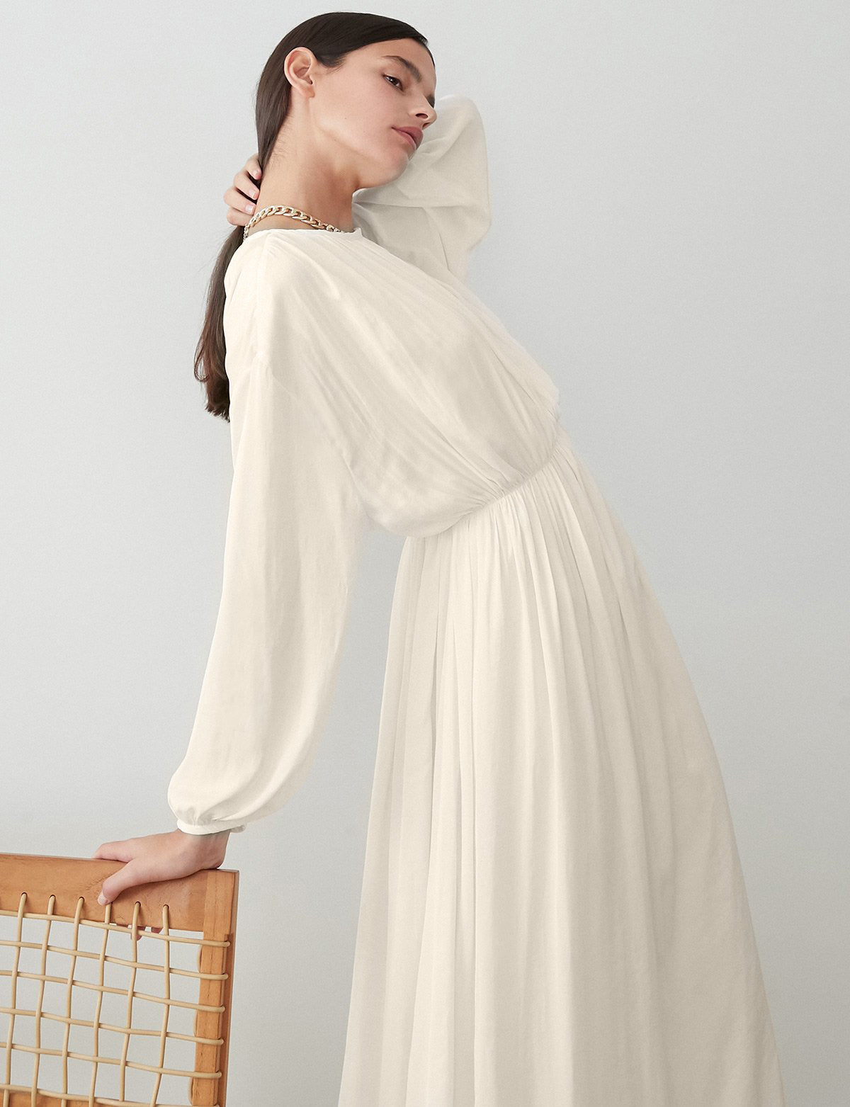 Cream Balloon Sleeve Maxi Dress