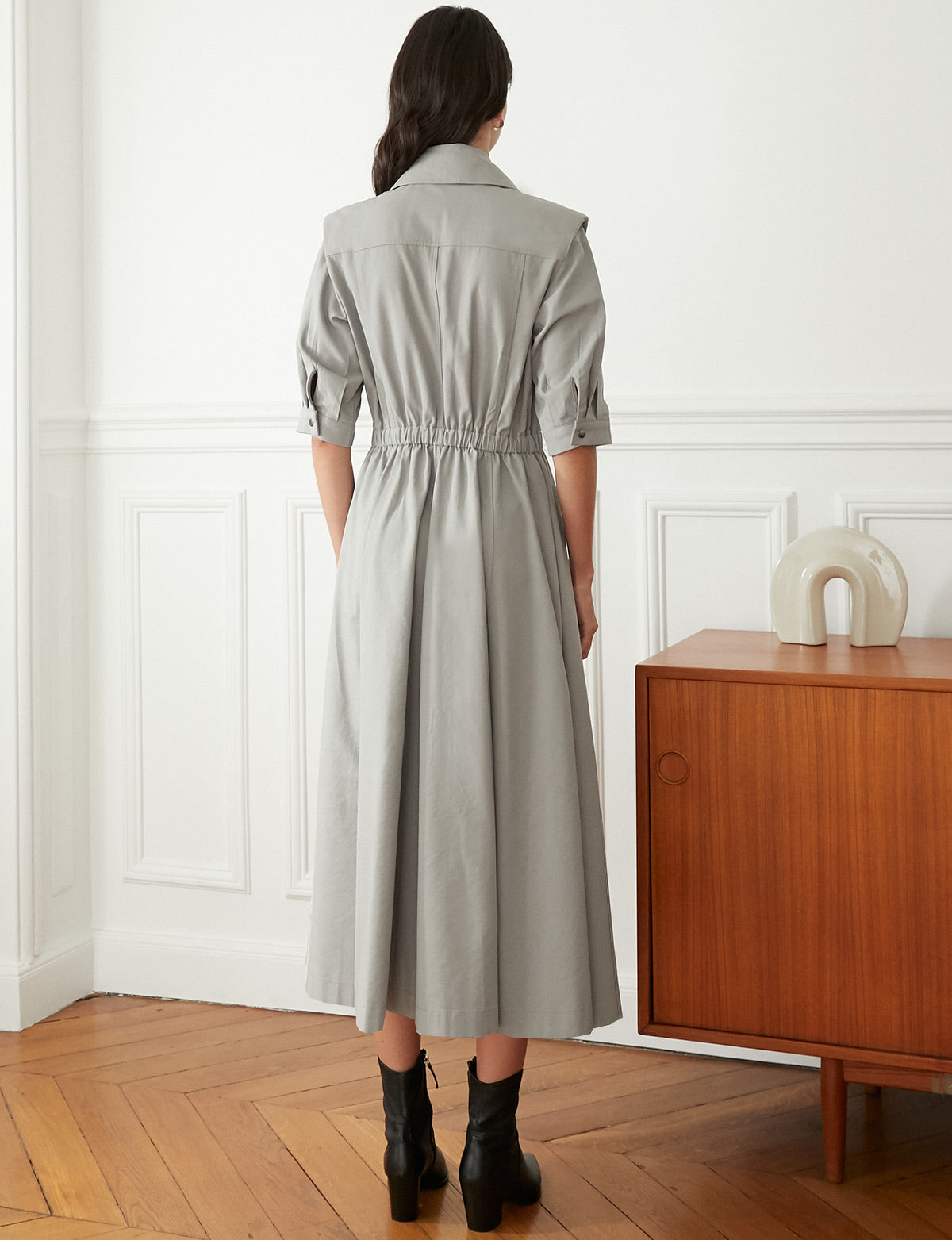 Shoulder Pad Trench Dress