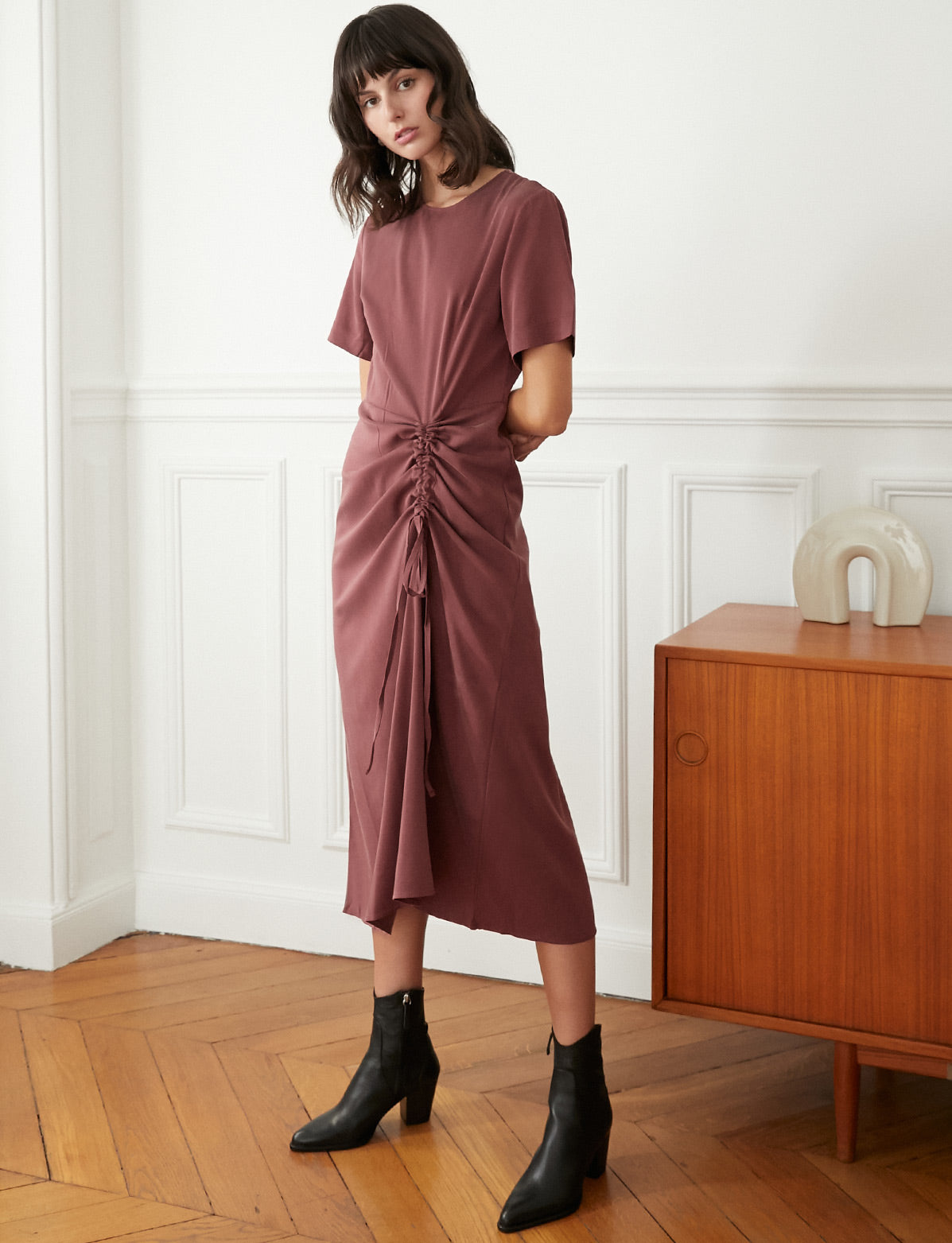Plum Ruched Tencel Dress
