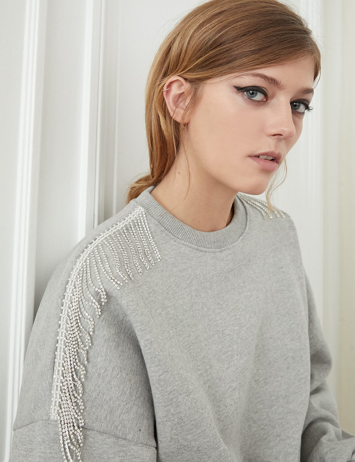 Grey Diamond Fringe Sweatshirt
