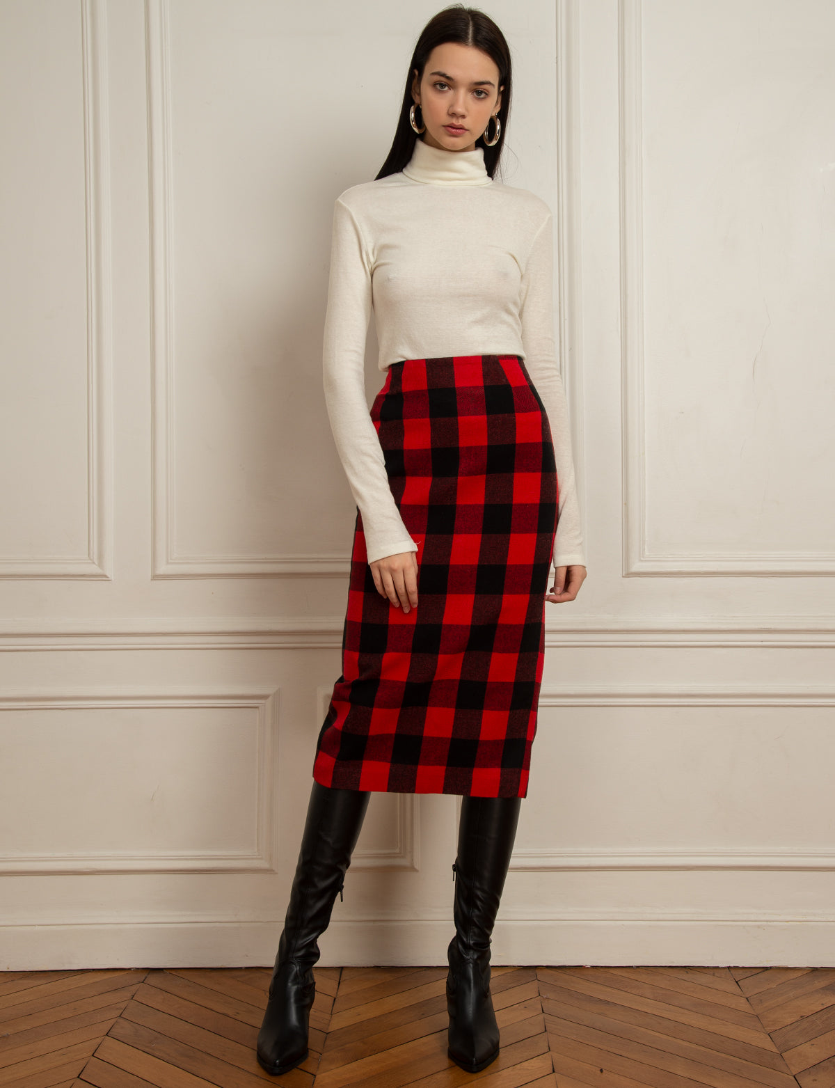 Red Plaid Pencil Skirt