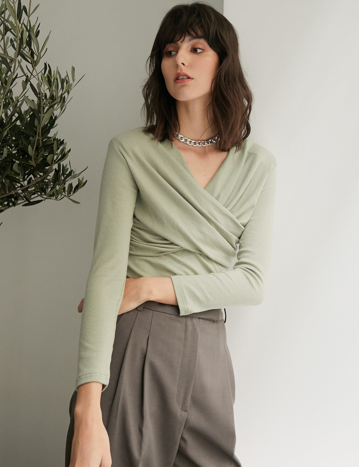 Sage Knit Wrap Top