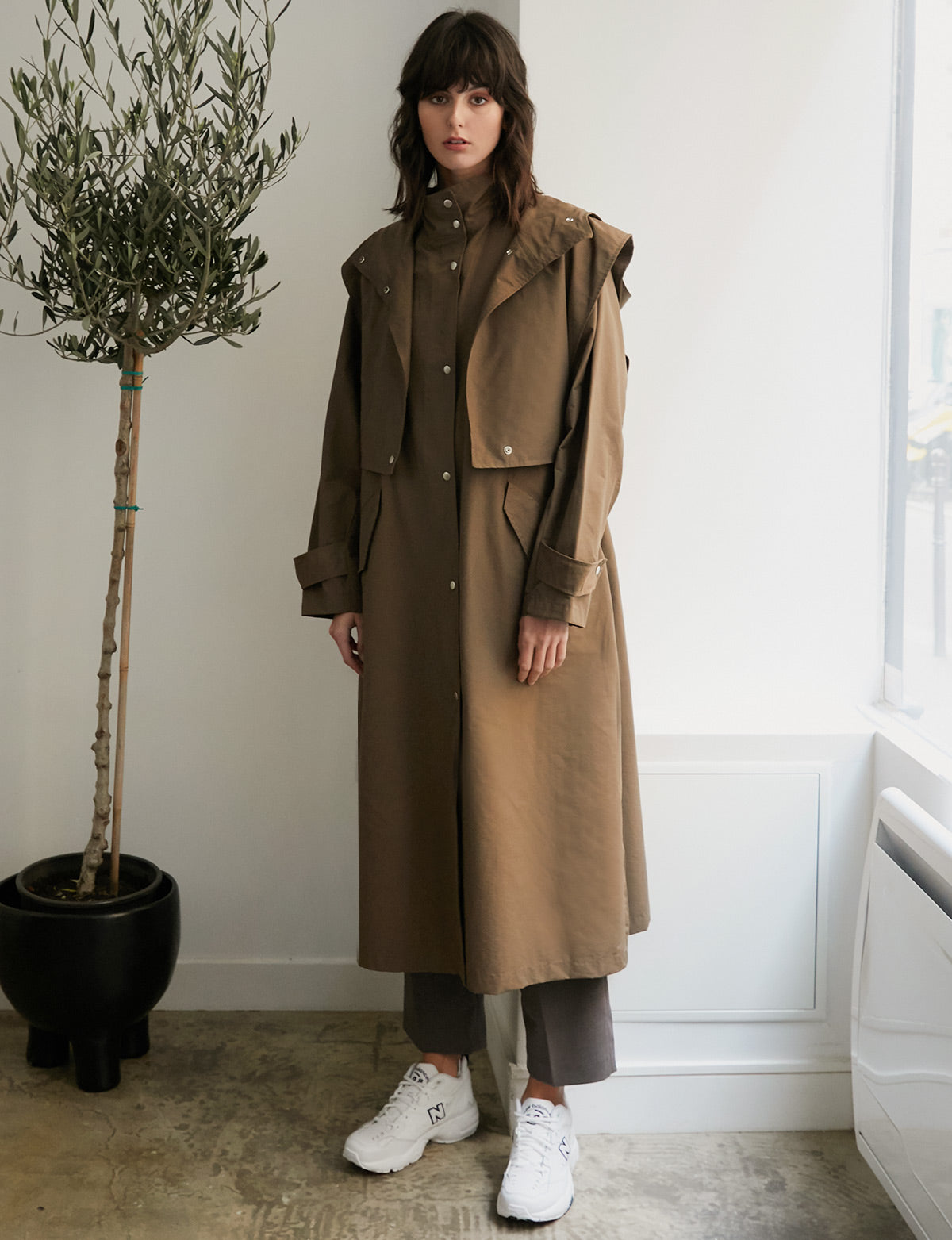 Layered Vest Brown Trench Coat