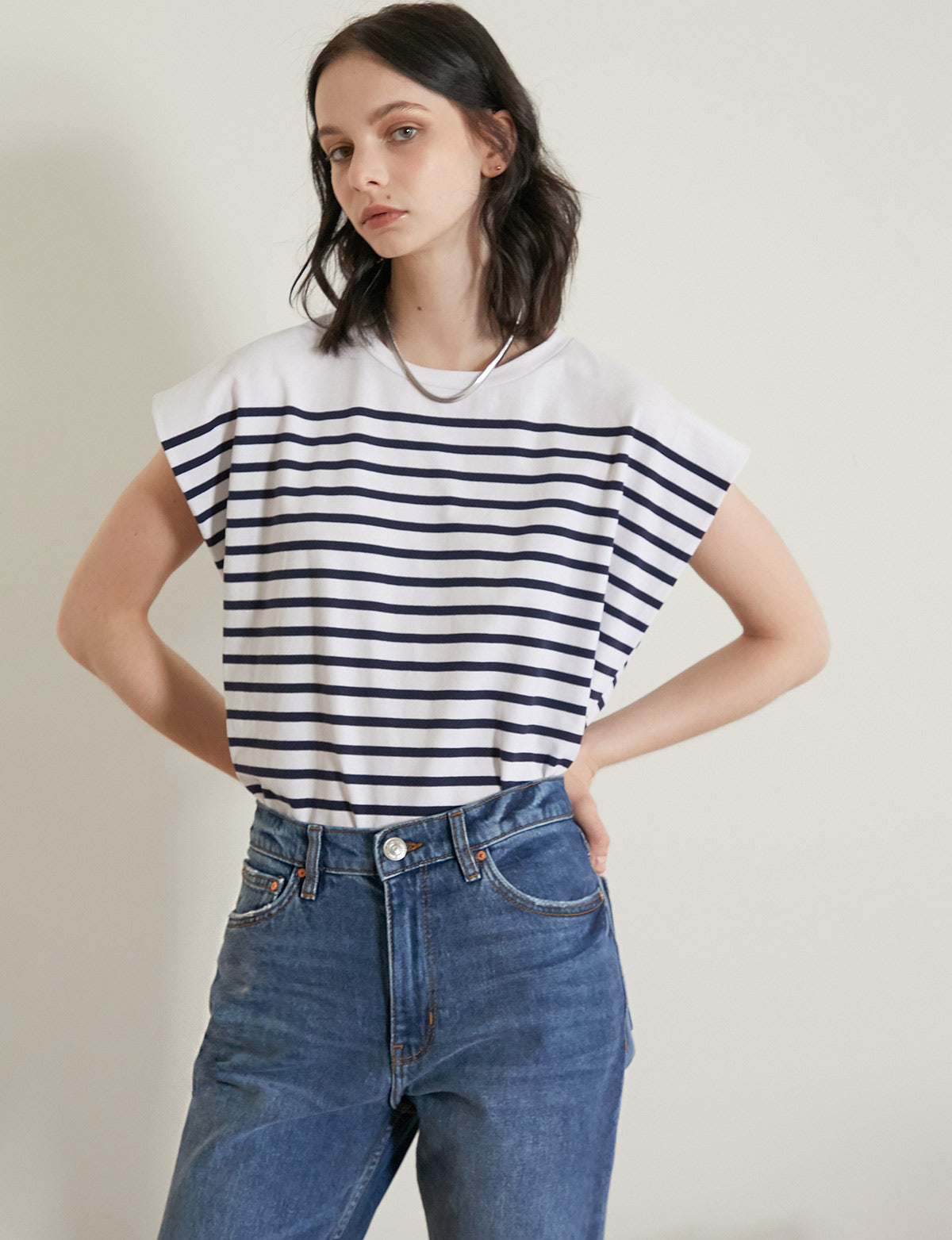 Stripe Sleeveless Oversized Tee