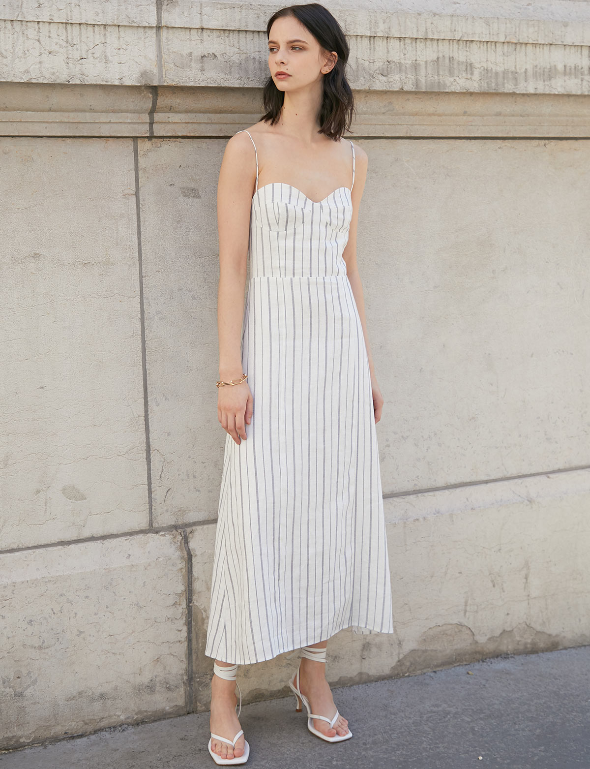 Belle Linen Stripe Dress
