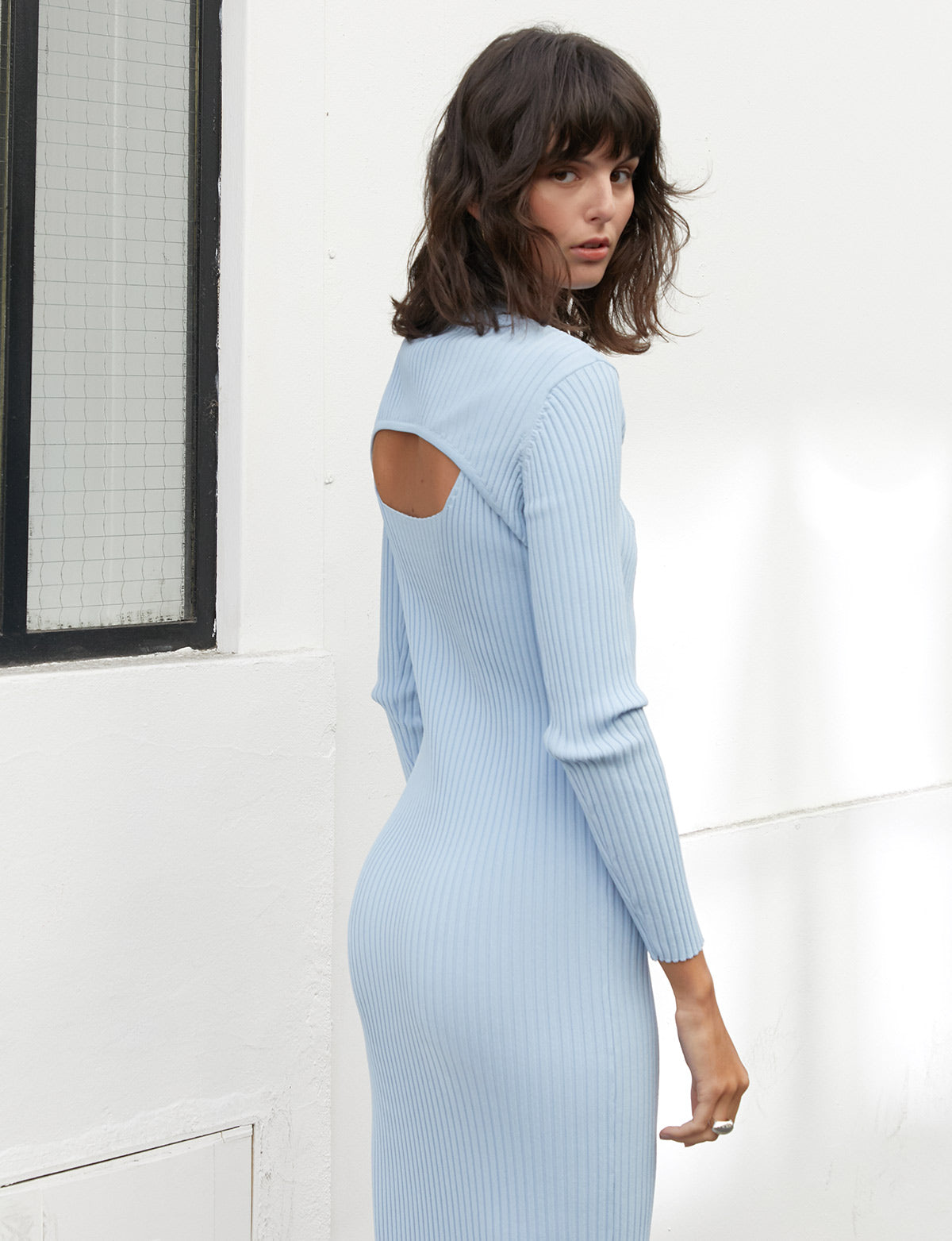 Powder Blue Knit Bolero and Dress Set