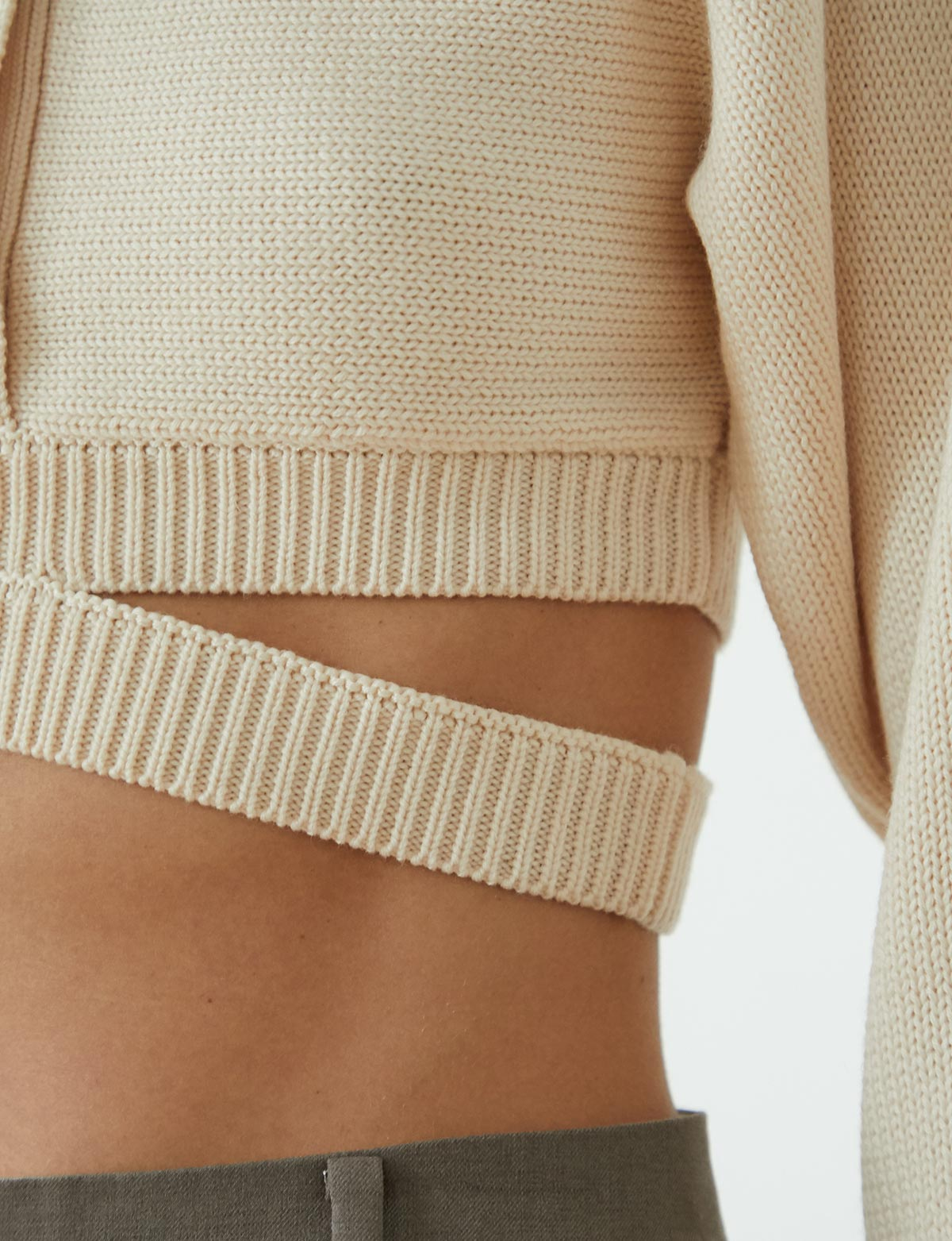 Cruz Beige Crop Cardigan