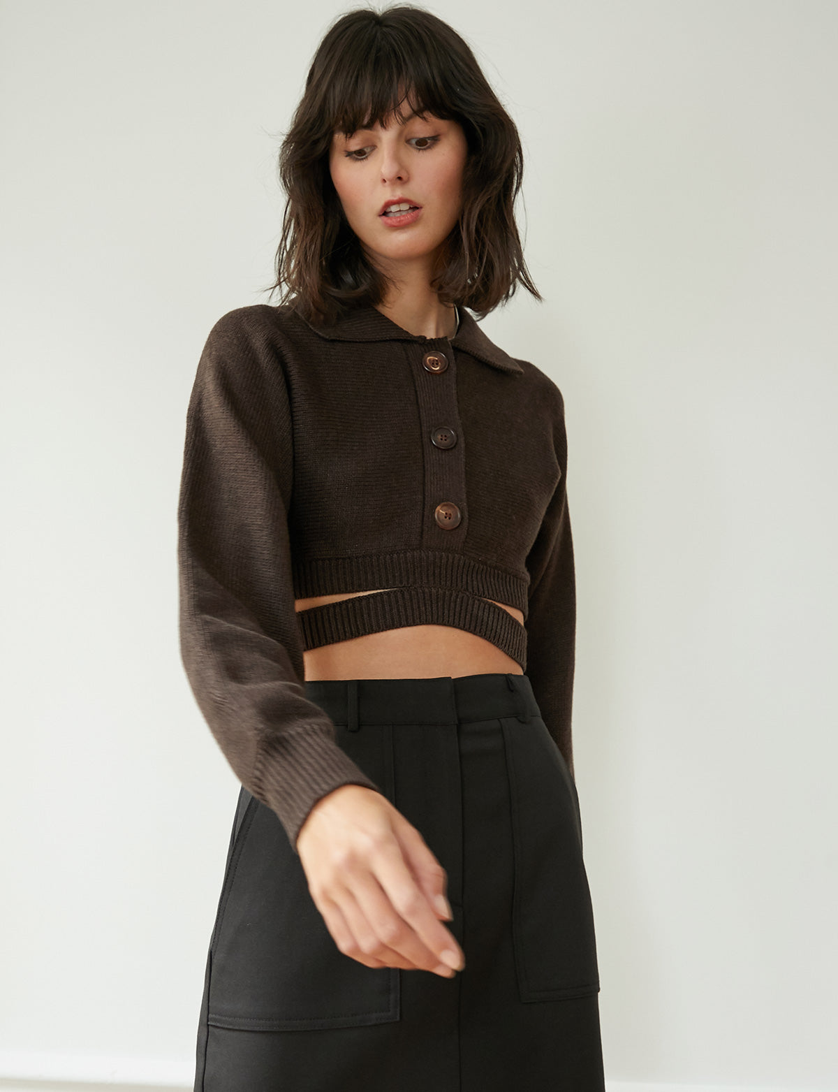 Cruz Brown Crop Cardigan