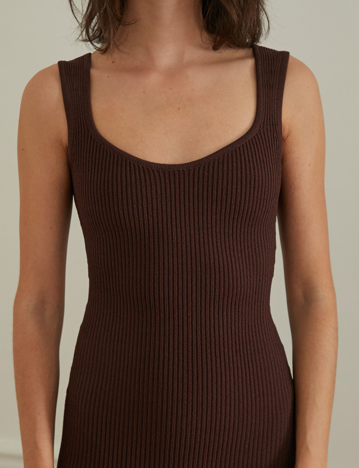 Rachel Brown Ribbed Knit Dress