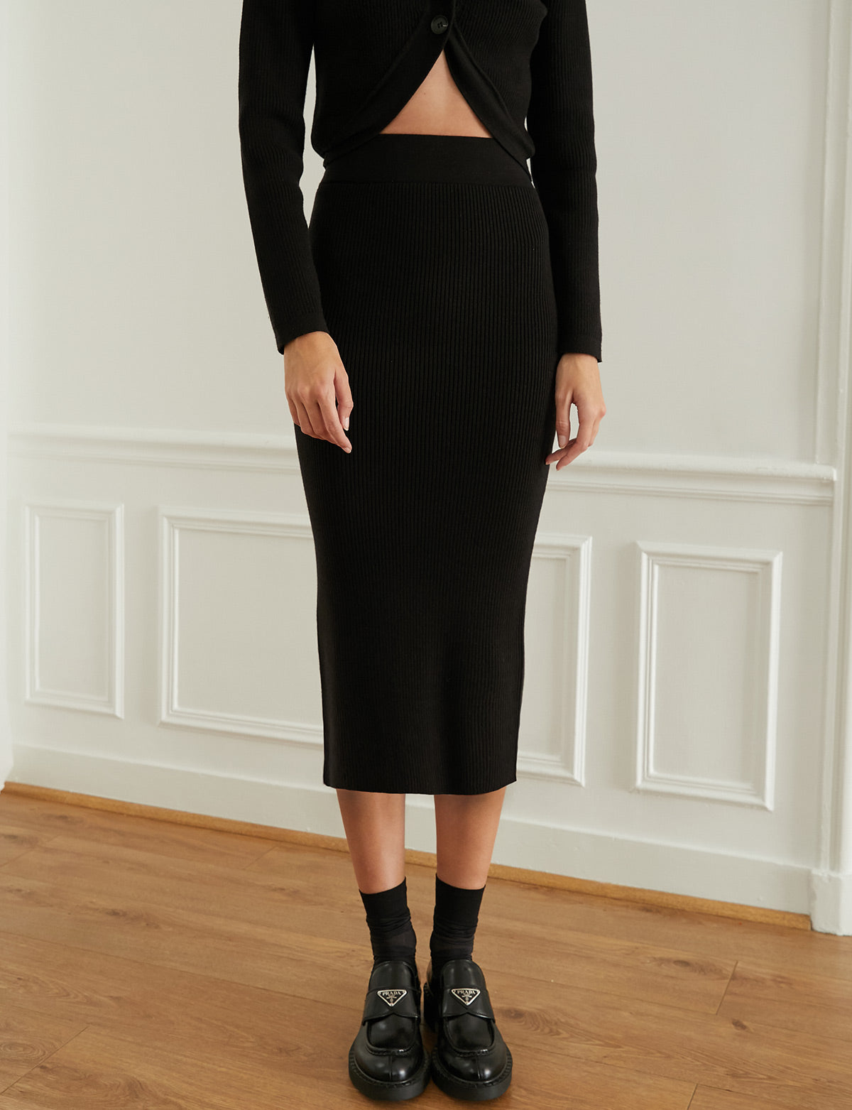 Black Ribbed Knit Skirt