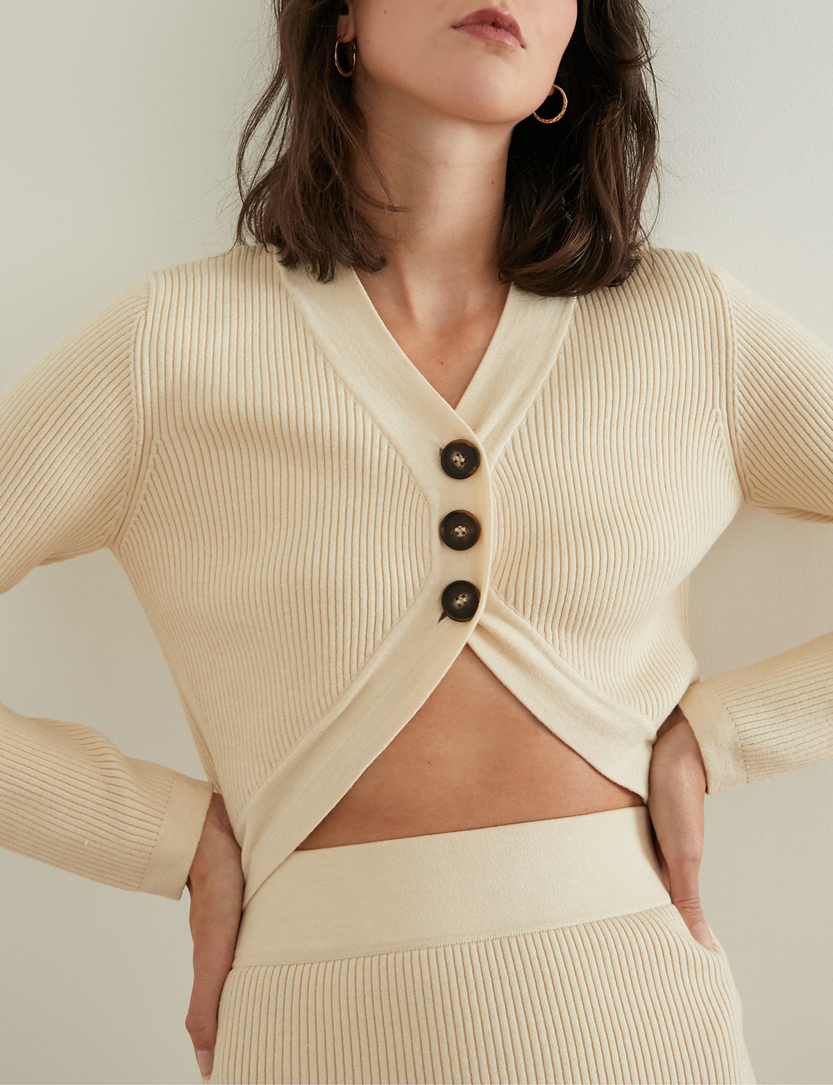 Beige 3 Button Crop Cardigan