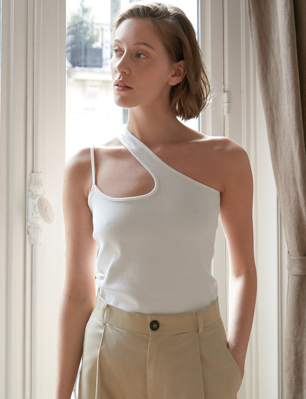 Penelope Asymmetric Tank in White